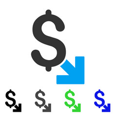 Dollar decrease flat icon vector