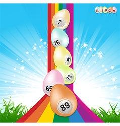 Easter bingo eggs and rainbow vector image