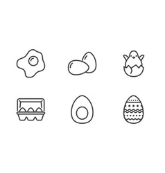 eggs organic food flat line icons breakfast vector image