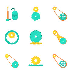 Engine elements icons set cartoon style vector