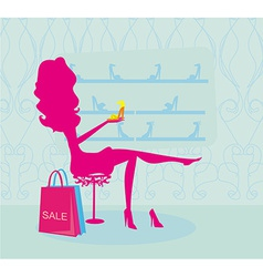 Fashion girl silhouette shopping in shoe shop vector