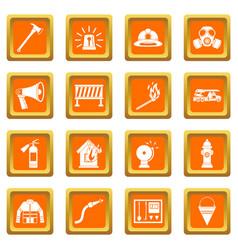 Fireman tools icons set orange vector