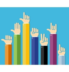 flat Hands Set vector image