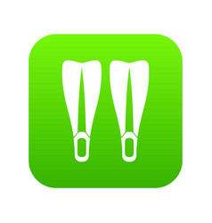 flippers icon digital green vector image