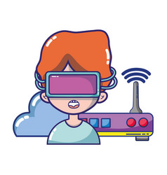 Fpv goggles technology cartoons vector