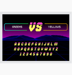 game versus screen with alphabet font to edit vector image
