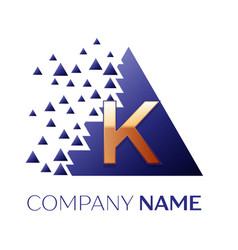 golden letter k logo symbol in blue pixel triangle vector image