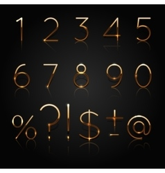 Golden numbers Set of golden numbers and vector image