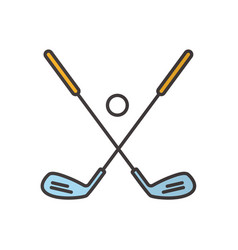 Golf ball and clubs color icon vector