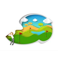 Golfing golfer swinging golf club vector