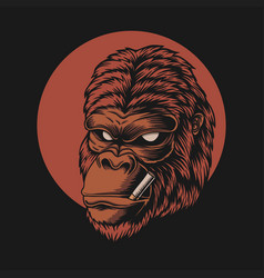 gorilla head smoke vector image