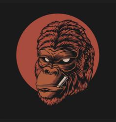 gorilla head smoke vector image