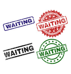 Grunge textured waiting seal stamps vector