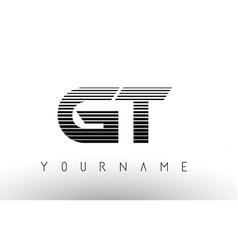 Gt black and white horizontal stripes letter logo vector
