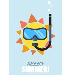 Hello summer with the sun wearing a diving mask vector