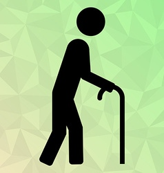 Icon oldman with cane on polygonal background vector