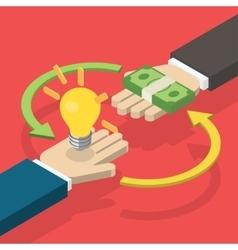 Idea trading for money concept vector