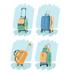 image suitcases bags vector image