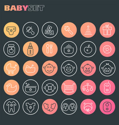 Inline baby icons collection trendy linear icons vector