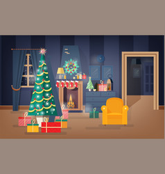 Interior of comfy living room decorated for vector