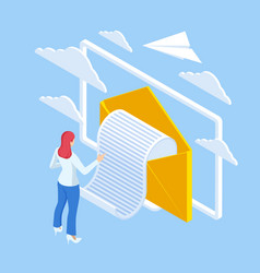 isometric email inbox electronic communication e vector image