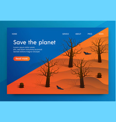 Isometric is written save the planet vector