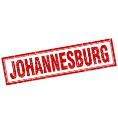 Johannesburg red square grunge stamp on white vector