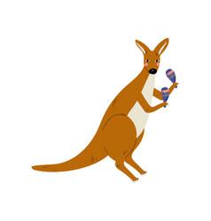 Kangaroo playing maracas cute cartoon animal vector