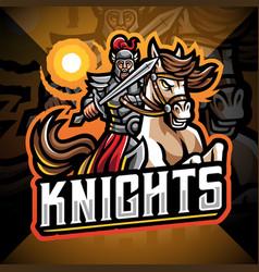 knights with horse jump esport mascot logo vector image