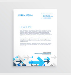 Letterhead design template with blue arrows in vector