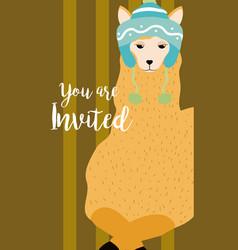 Llama cute animal cartoon invitation card vector
