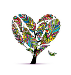 love tree made from colorful feathers vector image