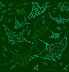 Manta ray and fish vector