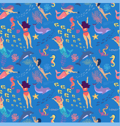 mermaids seamless pattern cute mermaids and girls vector image