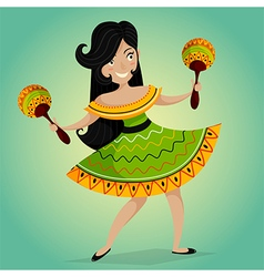 Mexican woman dancing with maracas vector