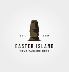 Moai statue icon logo object design easter island vector