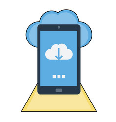 mobile download cloud icon vector image
