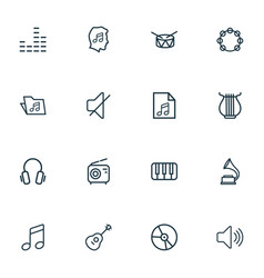 multimedia icons line style set with harp vector image