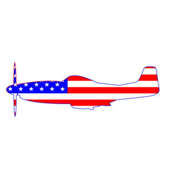 Mustang usa ww2 fighter on flag vector