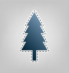 new year tree sign blue icon with outline vector image