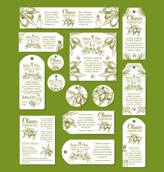 Olive oil tag and labels set vector