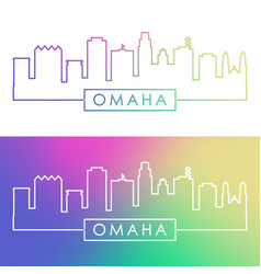 Omaha skyline colorful linear style editable vector