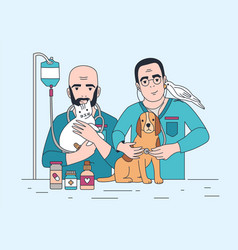 pair of smiling veterinarians holding cat dog vector image