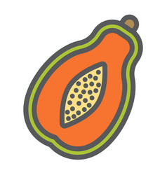 papaya line icon fruit and tropical vector image