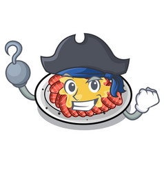 Pirate carpaccio is served on cartoon plates vector