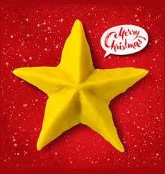 Plasticine figure of christmas star vector