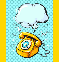 retro phone ringing in pop art style vector image