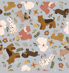 seamless pattern with cute dogs and flowers vector image