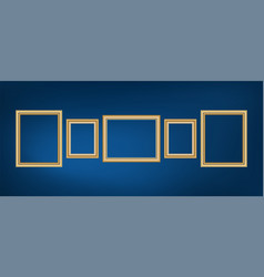 Set of decorative frame picture with gold border vector