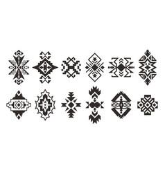 set of ethnic decorative elements isolated on vector image